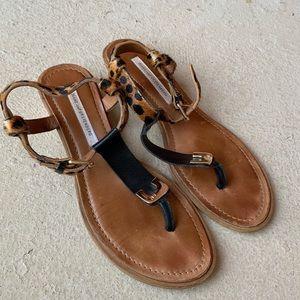 Diane von Furstenberg leopard print wedge sandals